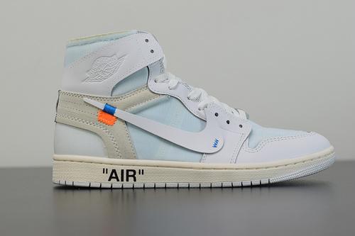 A00C6 PK升级版本  Off -White x Air Jordan 1 Retro Og 乔丹1代联名经典高帮复古篮球鞋 货号:AQ0818-100 码数36-45