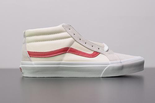 W01S3 Vans SK8-Mid Reissue 经典中帮白红 真标硫化休闲板鞋 35-44