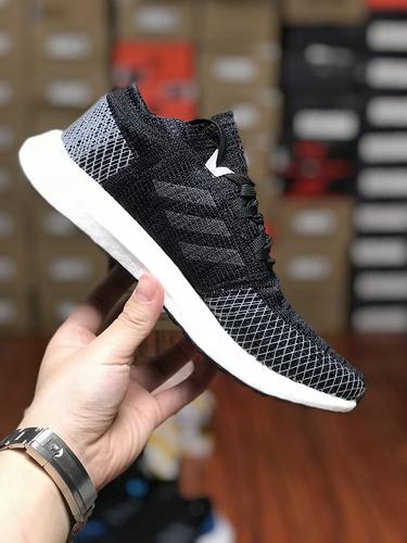 D08K3 Adidas Pure BoostGO爆米花系列慢跑鞋 GO三文鱼黑白 AH2319尺码36-45