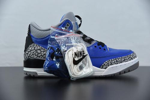 "W03S5纯原 AJ3 黑蓝水泥 荔枝纹 Air Jordan 3 Retro ""Blue Cement"" 货号:CT8532-400  Size: 40-47.5"