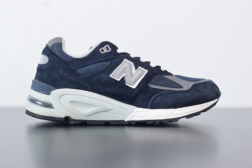"J02H4 NB 990v2高端美产系列经典复古休闲运动慢跑鞋""海军蓝白灰银3M"" 货号 M990NV2尺码40-44"