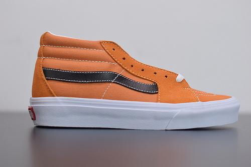 R04F3 VANS Sk8-Mid 奇异果橘色 中帮情侣款休闲板鞋 公司级 小红书35-44