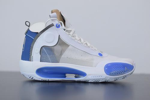 """纯原版本 Air Jordan XXXIV Low """"Blue Void"""" PF AJ34 乔34低帮 团队色 北卡蓝 未来概念轻量化篮球鞋 BQ3381-104"""
