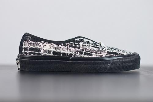 "W04Z3 范斯VANS VAULT OG Authentic LX barneys""Tweed""高定系列4孔低帮系带复古帆布休闲运动板鞋""黑米白粗花呢""35-44"
