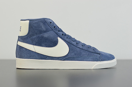 Q04L3 BLAZER MID 蓝色麂皮丝绒高帮休闲板鞋货号:917862-400 尺码:36-44