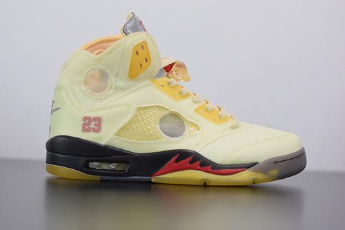 M03M6 AJ5 x off white 联名款 AJ5 ow 乔丹5代篮球鞋/联名浅黄 冰激凌 DH8565-100 尺码40-47.5