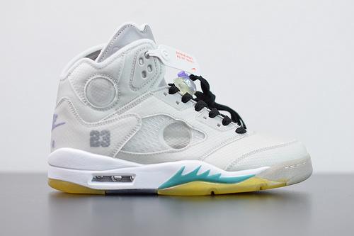 S00B6  Air Jordan 5 x off white 联名款 AJ5 ow 乔丹5代篮球鞋/联名浅灰货号:CT8480-105尺码40-47.5