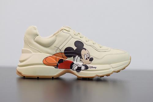 S00B6 GUCCI x Disney 2020联名 鼠年限定米奇老爹鞋 以米白色皮革材质 米老鼠印花Size 35-44