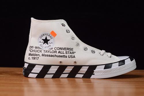 "OFF-WHITE x Converse 2.0 OW匡威联名黑白棋格帆布鞋板鞋 联名硫化鞋""粗斑马纹·黑白""货号 163862C尺码35-44"