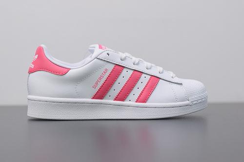 W03S3 Adidas Originals Superstar J 贝壳头小白鞋 CG6608 芭比粉 36-39