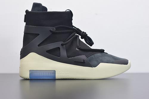 """D05Y7 Nike Fear of God 1高街气垫前卫高筒休闲运动篮球鞋""""皮革黑米黄""""!货号:AR4237-001尺码40-47.5"""