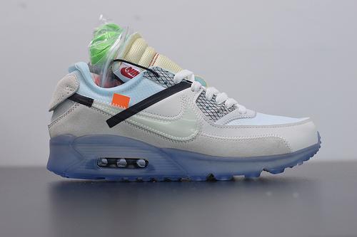 D05Y5 公司级Nike x Off -White Air Max 90 白蓝 AA7293-100 耐克联名款经典气垫跑鞋  尺码:36-45