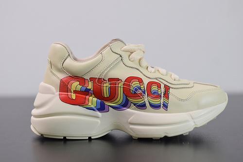 Y00H7 Gucci Rhyton Vintage Trainer Sneaker  古驰老爹5D皮革角状复古慢跑鞋35-44