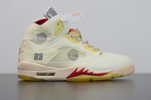 S00B6 Air Jordan 5 x off white 联名款 AJ5 ow 乔丹5代篮球鞋/联名冰激凌3M反光鞋舌货号:CT8480-002尺码40-47.5