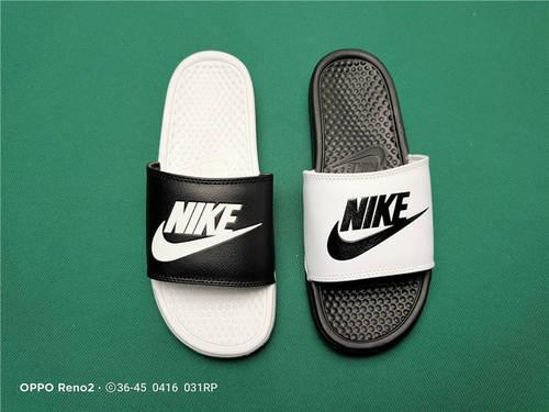 Nike Benassi JDI Slide 十年东莞专业拖鞋鞋厂出品 一体式橡塑材料与织物绑带增加衬垫设计 镭射激光打标 专柜品质 鸳鸯黑白配色