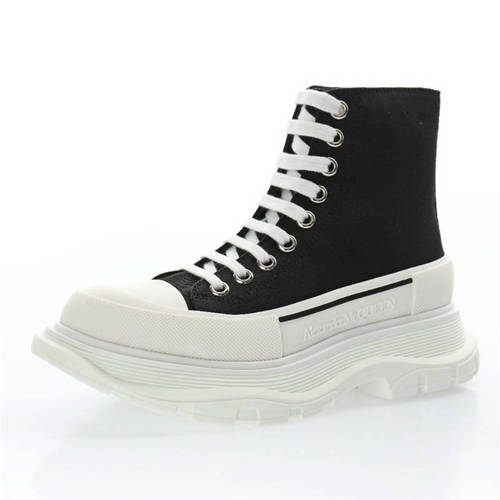 Alexander McQueen Chunky Tread Slick High Sneakers 帆布黑白 633900WHW571026