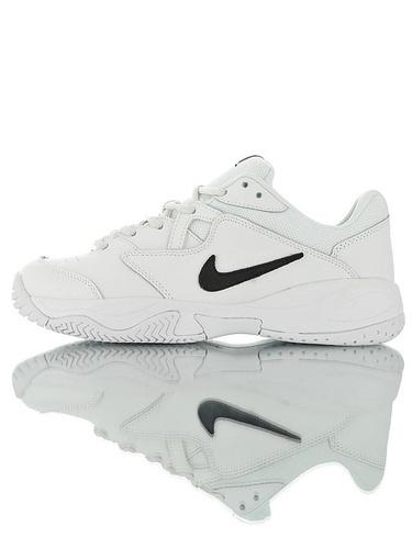 Nike Court Lite 2 Hard 韩系网红学院风  正确移膜革排气材质鞋面 耐克二代学院网球复古休闲运动慢跑鞋 黑白钩配色