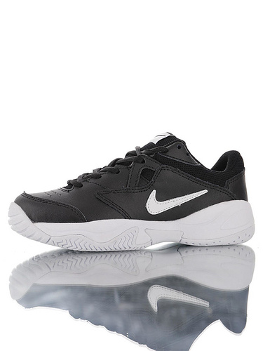 Nike Court Lite 2 Hard 韩系网红学院风 具开发打造 正确移膜革排气材质鞋面 耐克二代学院网球复古休闲运动慢跑鞋 黑白小钩配色
