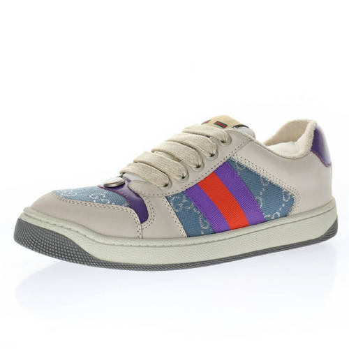 G家 Screener GG sneaker 皮革米白紫红牛仔浅蓝GG金银丝线 577684 2C830 4690