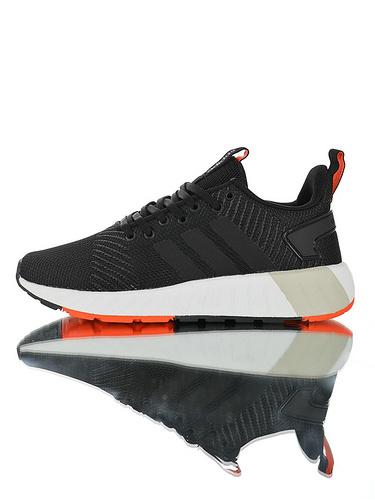 Adidas Neo Questar BYD 实体特供品质 阿迪达斯科视达系列针织呼吸鞋面百搭休闲轻跑鞋 黑灰线桔红配色