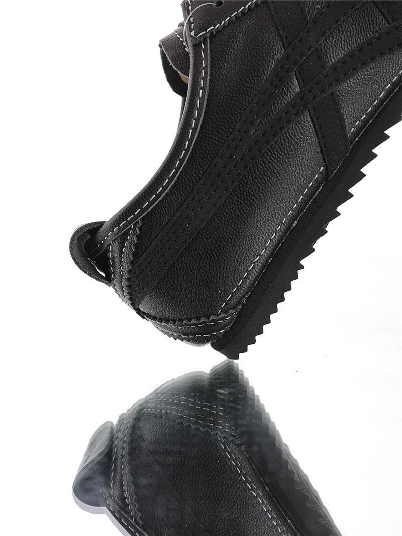 Onitsuka Tiger Japan MEXICO Deluxe 头层软羊皮鞋面材质 官网扫描防伪芯片 高弹性EVA成型鞋垫 鬼塚虎慢跑鞋 纯黑配色