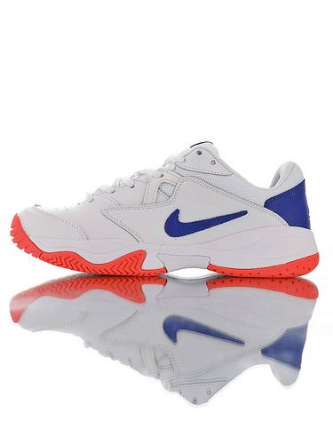 Nike Court Lite 2 Hard 韩系网红学院风  正确移膜革排气材质鞋面 耐克二代学院网球复古休闲运动慢跑鞋 白宝蓝红配色