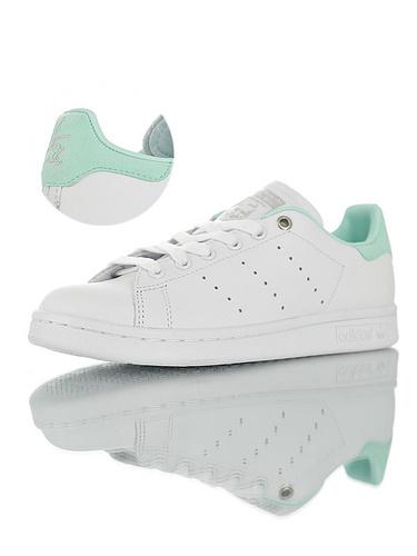 "Originals Stan Smith W""Blanc Vert d'eau"" 进口软头层荔枝纹皮革 具开发打造 史密斯运动板鞋 皮革白薄荷绿尾配色"
