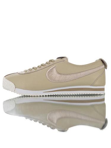 Nike Wmns Cortez '72 韩国订单品质  鞋面采用渠道超软头层羊皮革材料 钢印+刷胶中底板 耐克阿甘科特斯系列复古慢跑鞋 杏黄白电绣钩配色