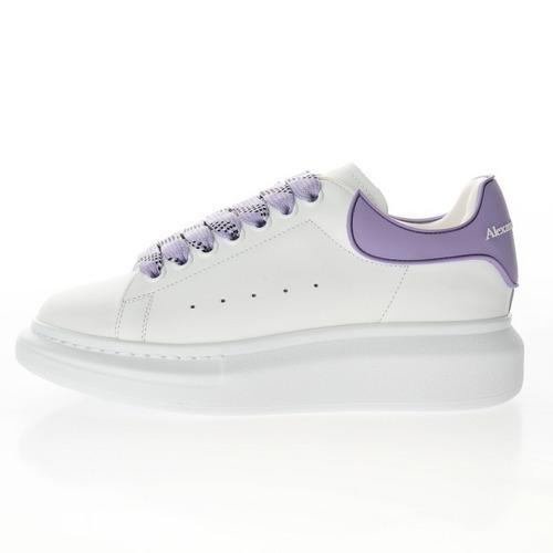 Alexander McQueen Sole Leather Sneakers 皮革白浅紫RB胶片尾 462214 WHGP7 9389