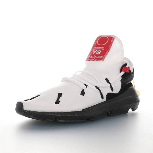 Adidas Y-3 Kusari II 2020ss春夏透气弹布面料 三本耀司出品 赛高二代系列爆米花袜套武士前卫慢跑鞋 弹布白红黑配色 BC0964