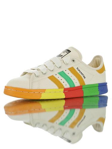 Originals Stan Smith W 具开发打造 进口航空级帆布面料 史密斯经典百搭复古休闲运动板鞋 帆布米白棕绿彩虹底配色