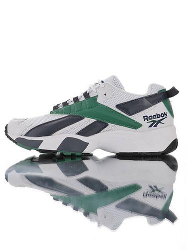 Reebok Interval 96 陈伟霆明星同款 全新复刻 时隔二十三年的立体大LOGO设计 美国锐步间隙系列复古休闲运动老爹慢跑鞋 白夜蓝深绿配色