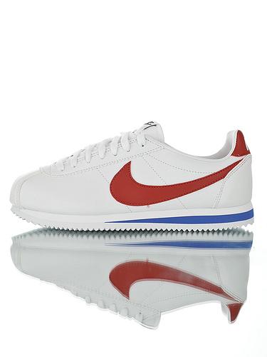 Nike Classic Cortez Leather  升级厚实牛剖层移膜革 耐克阿甘复古初代皮革慢跑鞋 OG皮革白红蓝配色