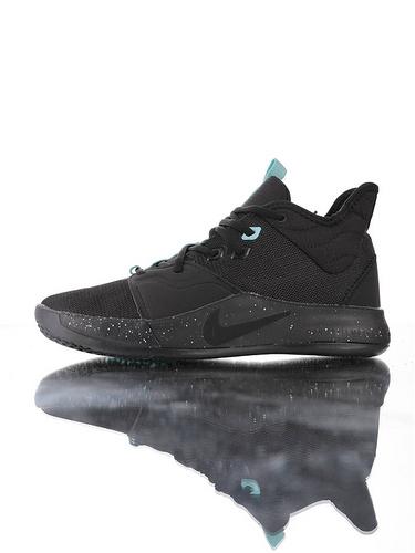 Nike PG3 耐克保罗乔治三代系列 前掌真Zoom气垫 独特抓地纹路大底 气垫低帮运动篮球鞋 黑蒂芙尼蓝泼墨配色