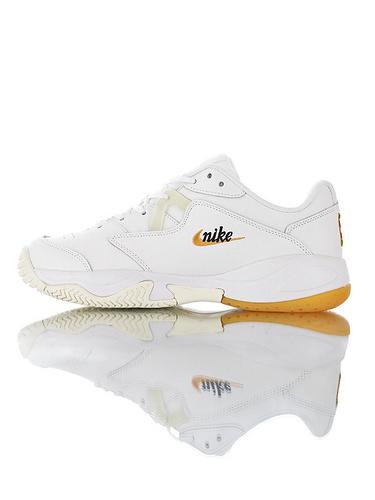 Nike Court Lite 2 Hard 韩系网红学院风  正确移膜革排气材质鞋面 耐克二代学院网球复古休闲运动慢跑鞋 白黑橘黄配色