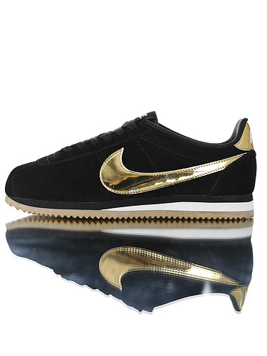 "Nike Women Classic Cortez SE""Diffused Taupe Gold""优质头层牛皮制 经典复古阿甘百搭慢跑鞋 毛黑金勾配色"