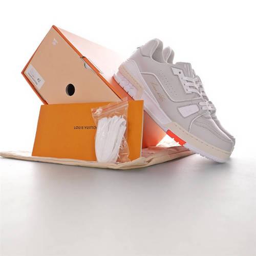 Louis Vuitton Trainer Sneaker Low VA亲自操刀设计 吴亦凡同款 优选性价比版本 路易威登文化板鞋 皮革浅灰白橙金字签名配色 1A5A0P