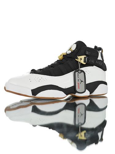 """Air Jordan 6 Rings GS """"White Black""""中底嵌入碳纤缓震材质 六款融合休闲运动文化篮球鞋 黑白金棕配色 AJ6302-026"""