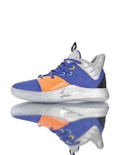 Nike PG3 耐克保罗乔治三代系列 前掌真Zoom气垫 独特抓地纹路大底 气垫低帮运动篮球鞋 皇家蓝橙航空银配色