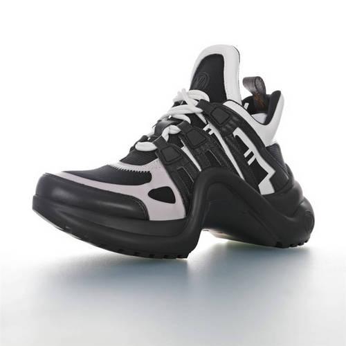 Louis Vuitton Archlight Sneakers INS炸款米兰走秀风 路易威登 真皮拼色减震网面运动弓型舞蹈复古老爹鞋 黑白棕老花配色 1A5C8L