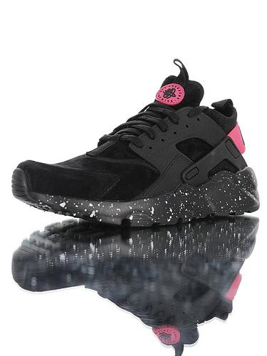 Nike Air Huarache Ultra Suede ID 高几率过虎扑版本 内置Air纤维小气垫装置 四代华莱士复古慢跑鞋 麂皮黑粉泼墨配色 829669-336