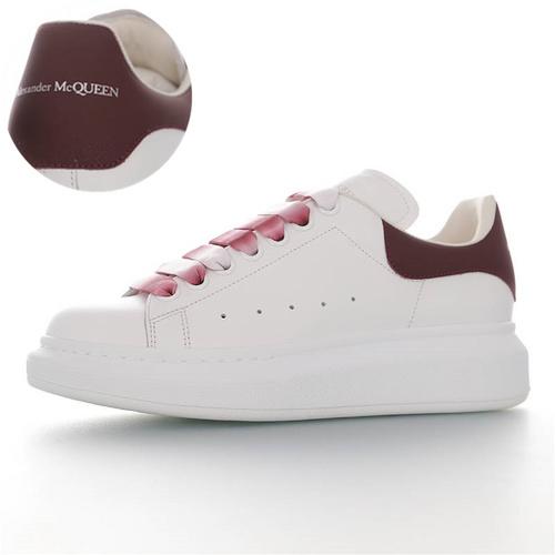 Alexander McQueen Sole Sneakers 意大利高奢品牌亚历山大·麦昆 低帮时装厚底小白鞋 白扎染酒红尾配色 462214 WHGP7 9388