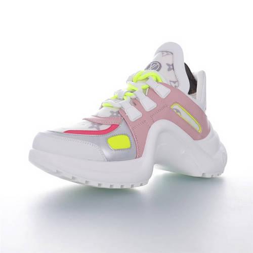 Louis Vuitton Archlight Sneakers Ins炸款米兰走秀风 路易威登减震运动弓型舞蹈老爹运动鞋 樱花粉银灰亮黄棕配色 1A65JQ