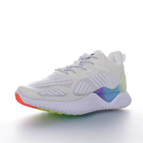 Adidas AlphaBOUNCE J 童鞋版本上线 潮爹潮妈追寻的单品 阿迪达斯阿尔法童鞋系列鲨鱼鳃纹大底套脚休闲运动慢跑鞋 网织白黑彩虹配色 B43808