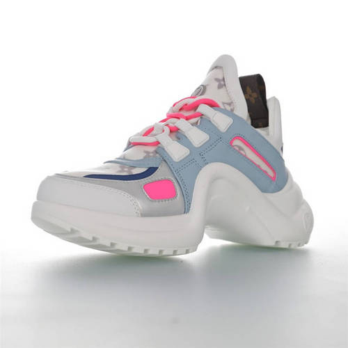 Louis Vuitton Archlight Sneakers Ins炸款米兰走秀风 路易威登减震运动弓型舞蹈老爹运动鞋 浅兰粉灰棕配色 1A65K6