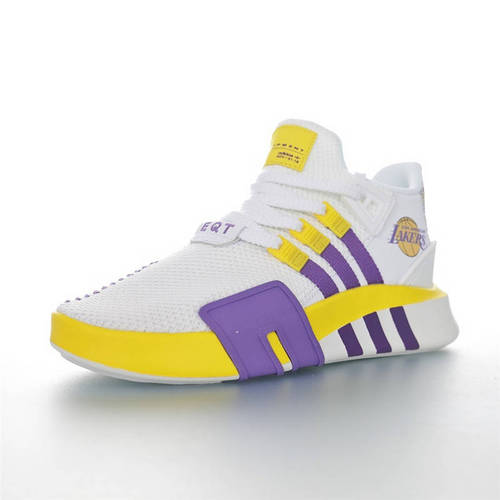 Adidas EQT Basketball ADV 纪念NBA已逝超级巨星 科比限定 三叶草新品 街头篮球短筒针织慢跑鞋 针织白紫黄湖人配色 FU9411