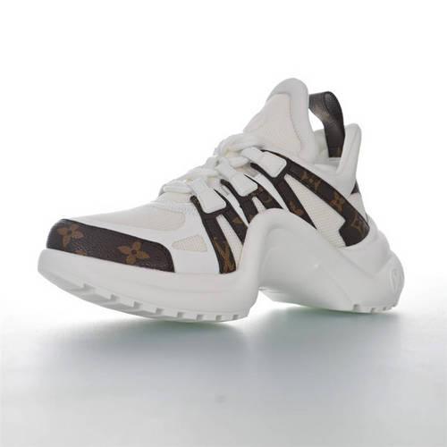 Louis Vuitton Archlight Sneakers Ins炸款米兰走秀风 路易威登减震运动弓型舞蹈老爹运动鞋 白深棕老花配色 1A43KV