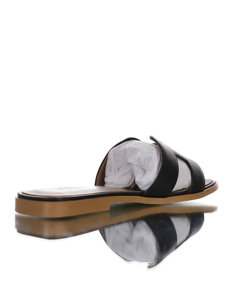 Hermès Purple Lizard Oran Sandals 2020夏季欧美ins潮网红夏季性感女神搭配款 爱马仕经典H鞋面粗跟凉鞋平底拖鞋 皮革黑棕黄配色
