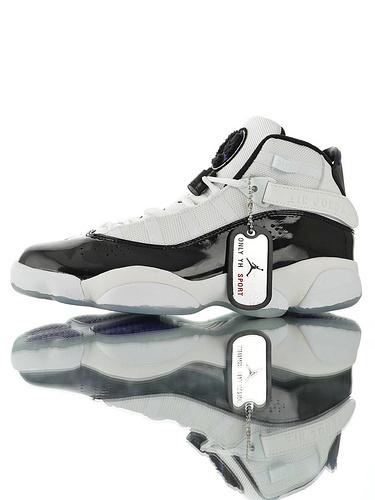 """Air Jordan 6 Rings """"White Black""""中底嵌入碳纤缓震材质 六款融合休闲运动文化篮球鞋 六连冠黑白配色"""