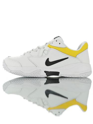 Nike Court Lite 2 Hard 韩系网红学院风  正确移膜革排气材质鞋面 耐克二代学院网球复古休闲运动慢跑鞋 黑白亮黄配色